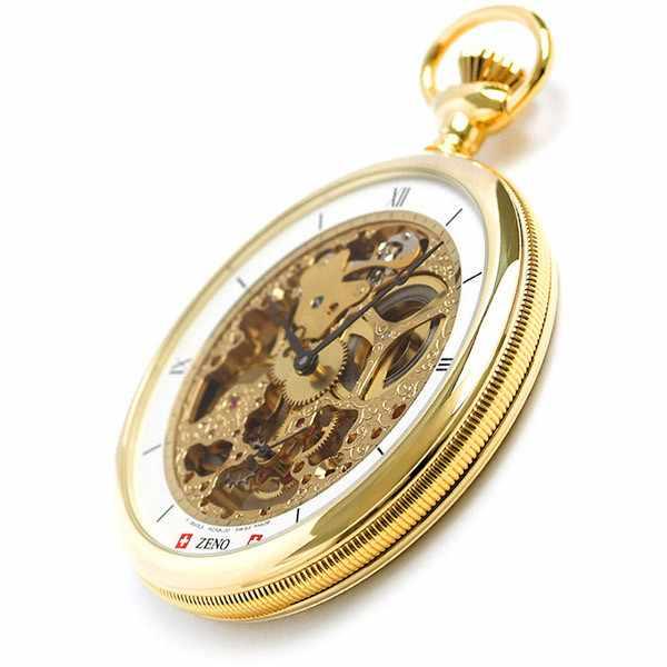 Skelett Taschenuhr Handaufzug, XL gold_19280