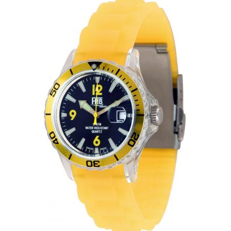 FHB Opaque Fun Watch, Quartz Uhr mit Silikonband, gelb