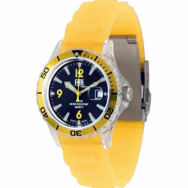 FHB, Opaque Fun Watch, Quartz Uhr mit Silikonband, gelb_1948