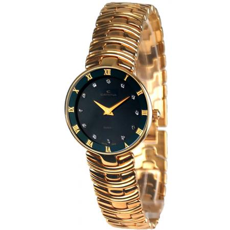 CATENA Marbella Diamond, vergoldete Quartz Armbanduhr schwarz_19806