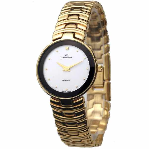 CATENA Marbella, vergoldete Quartz Armbanduhr weiss_19813