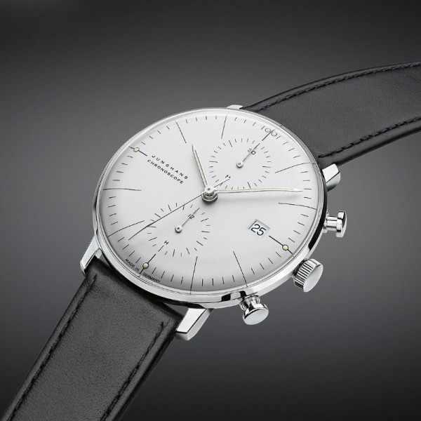Junghans MAX BILL 40 Chronoscope, Automatik Stripes weiss Leder_20206