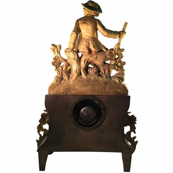 _ANTIK mechanische Empire Tischuhr mit Jäger, ca. 1820_2040