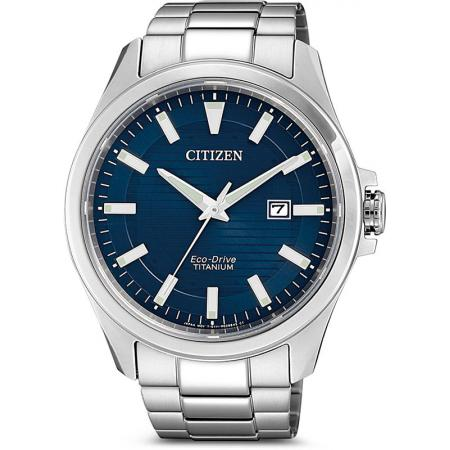 CITIZEN Herrenuhr, Eco-Drive Solar, Super Titanium, blau