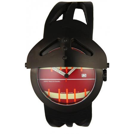 ZENO-WATCH BASEL, Gladiator XL Quartzuhr Edelstahl schwarz, rot