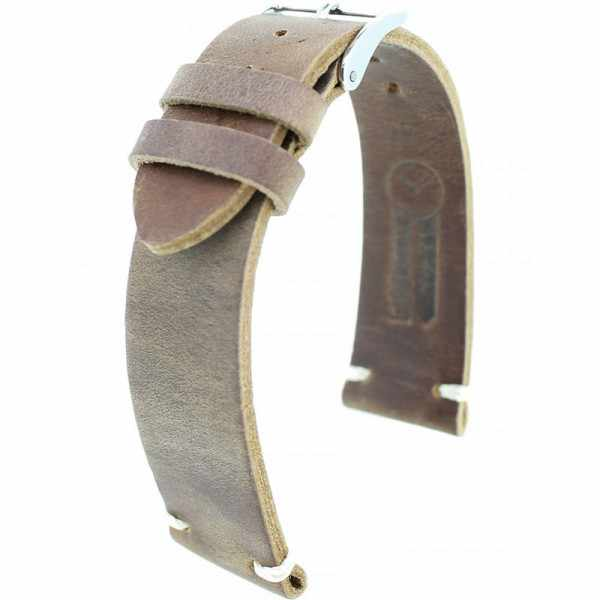FANO Vintage Rindsleder Uhrenband 22mm, mittelbraun_20938
