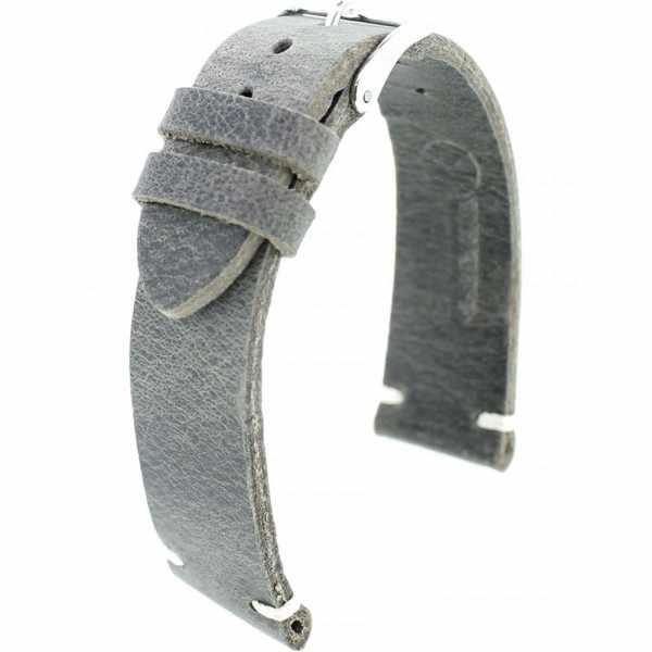 FANO Vintage Rindsleder Uhrenband 22mm, grau_20943