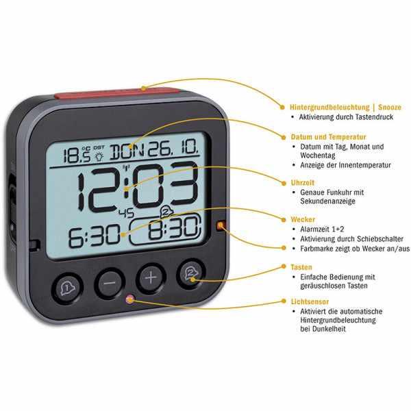 TFA Bingo 2.0 Nachtlicht, Funkwecker Thermometer + 2 Alarme_21072