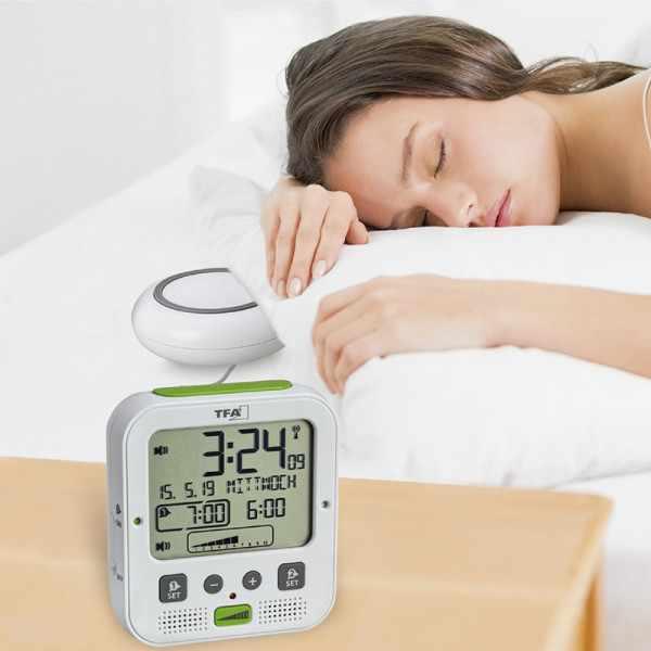 TFA Boom Vibrationsalarm, Nachtlicht, Funkwecker Thermometer + 2 Alarme, weiss_21073