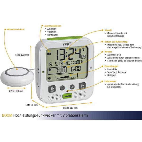 TFA Boom Vibrationsalarm, Nachtlicht, Funkwecker Thermometer + 2 Alarme, weiss_21074