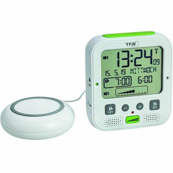 TFA Boom Vibrationsalarm, Nachtlicht, Funkwecker Thermometer + 2 Alarme, weiss_21075