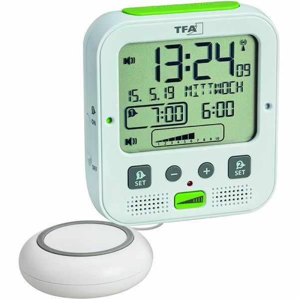TFA Boom Vibrationsalarm, Nachtlicht, Funkwecker Thermometer + 2 Alarme, weiss_21076