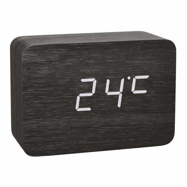 TFA Clocco Design Funk-Wecker Thermometer, Kalender in Holz-Optik_21078