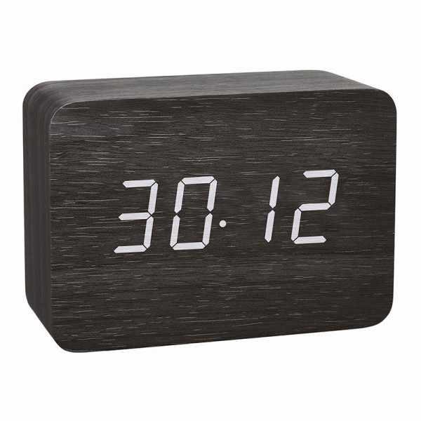 TFA Clocco Design Funk-Wecker Thermometer, Kalender in Holz-Optik_21079