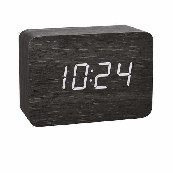TFA Clocco Design Funk-Wecker Thermometer, Kalender in Holz-Optik_21080