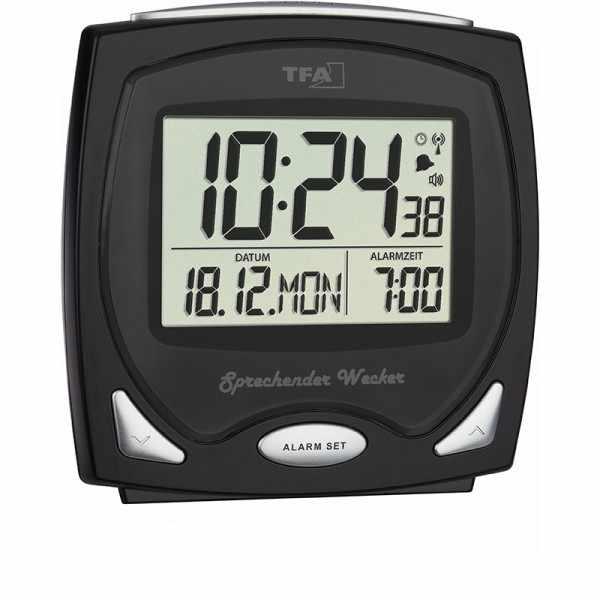 TFA Sprechender Funk-Wecker, LCD Tischuhr schwarz_21089