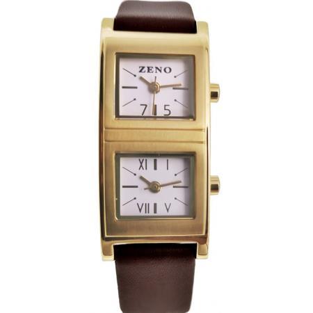 ZENO Lady Dual Time, Zweizeitenuhr vergoldet LB_21098