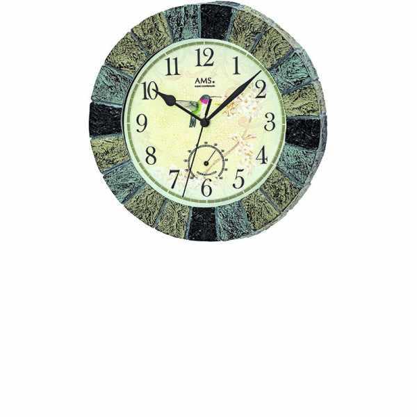 AMS Aussenuhr mit Thermometer, Funkwanduhr farbig_21192