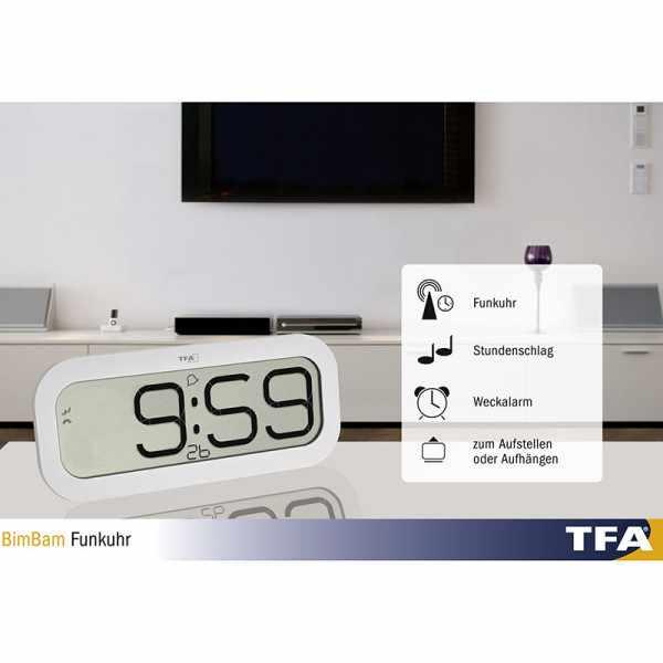 TFA Bimbam, LCD Funkuhr mit Stundenschlag_21196