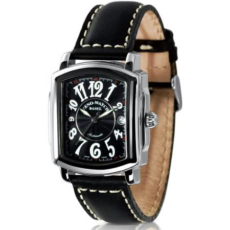 ZENO-WATCH BASEL, Retro Rectangular Automatic, Art-Déco Uhr, schwarz_21344