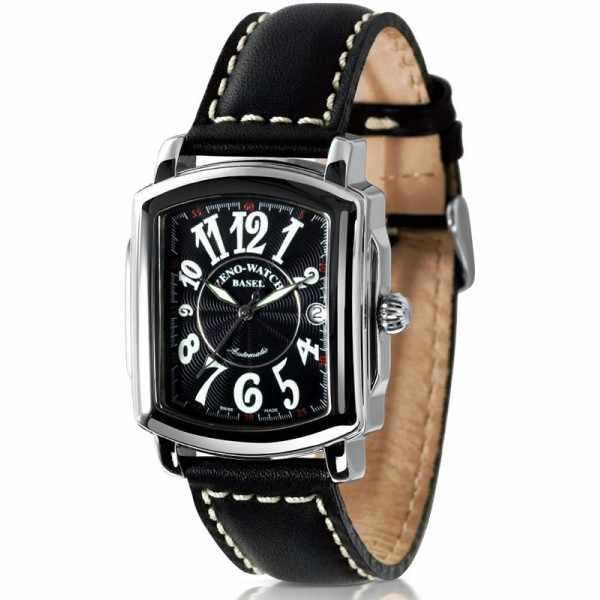ZENO-WATCH BASEL, Retro Rectangular Automatic, Art-Déco Uhr, schwarz_21344