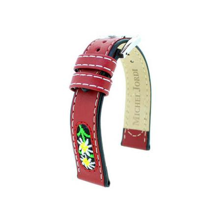 MICHEL JORDI Uhrenband Leder 13mm, rot_21415