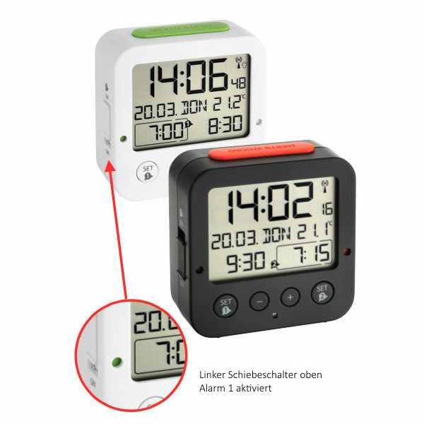 TFA Bingo Nachtlicht, Funkwecker Thermometer + 2 Alarme, schwarz_2163