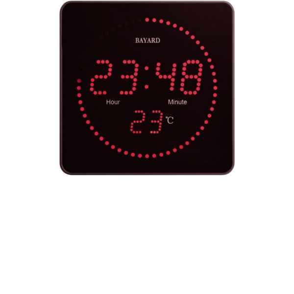 BAYARD LED Funk Wanduhr mit Thermometer_21656