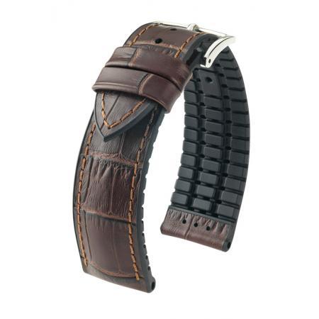 HIRSCH Uhrenband Leder+Kautschuk Paul 22mm, dunkelbraun_21692