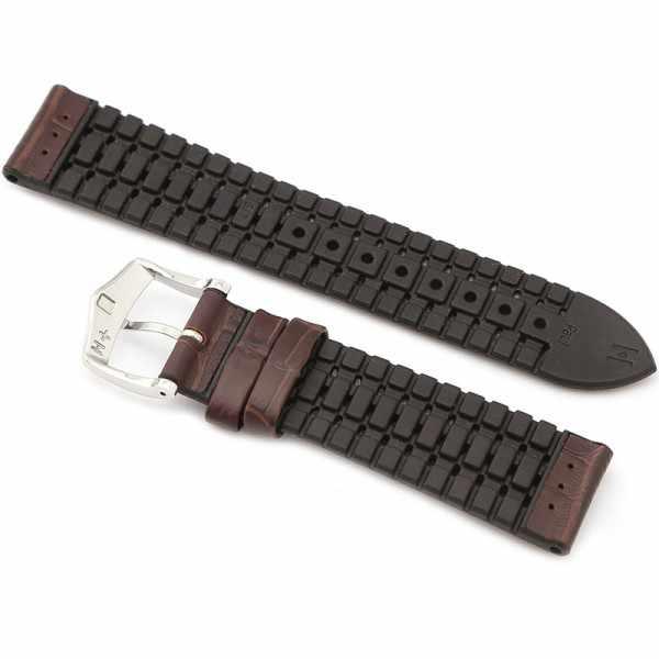 HIRSCH Uhrenband Leder+Kautschuk Paul 22mm, dunkelbraun_21694
