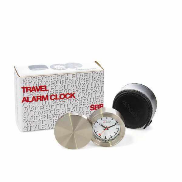 MONDAINE Travel Alarm Clock, Reisewecker, SBB Bahnhofsuhr_21766