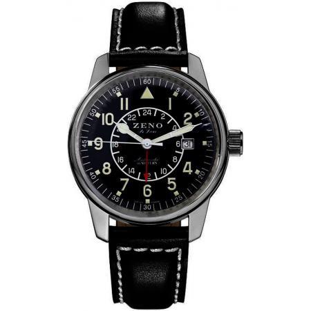 ZENO-WATCH BASEL, Classic GMT Automatik, Fliegeruhr Dualtime_21856