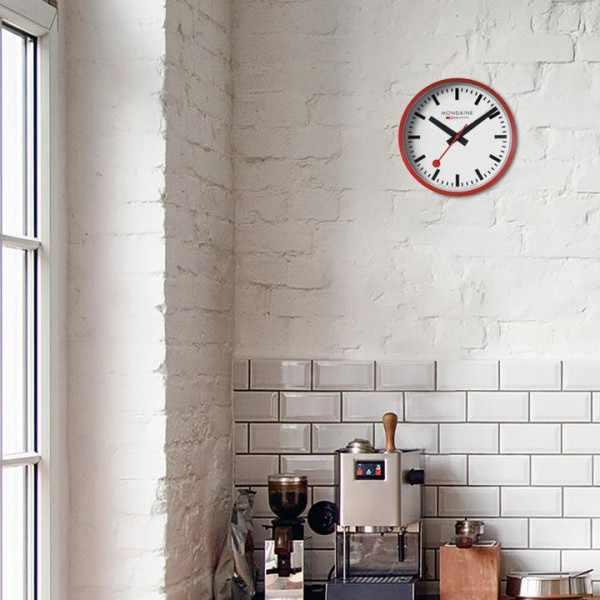 MONDAINE Wall Clock original SBB Bahnhofswanduhr, rot/weiss_22119