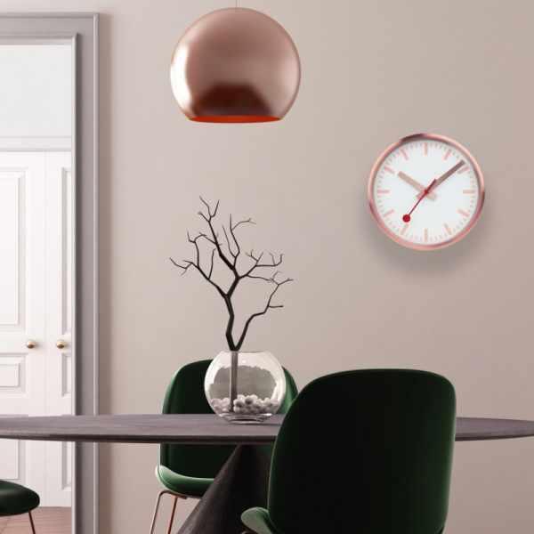 MONDAINE Wall Clock Pure Quartz Wanduhr kupfer_22185
