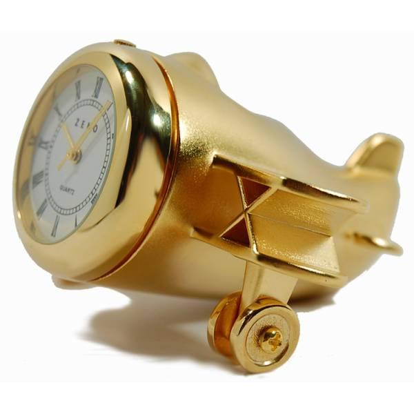 _ZENO Miniaturuhr, Flugzeug, Quartz, Tischuhr, klein, Messing_2234
