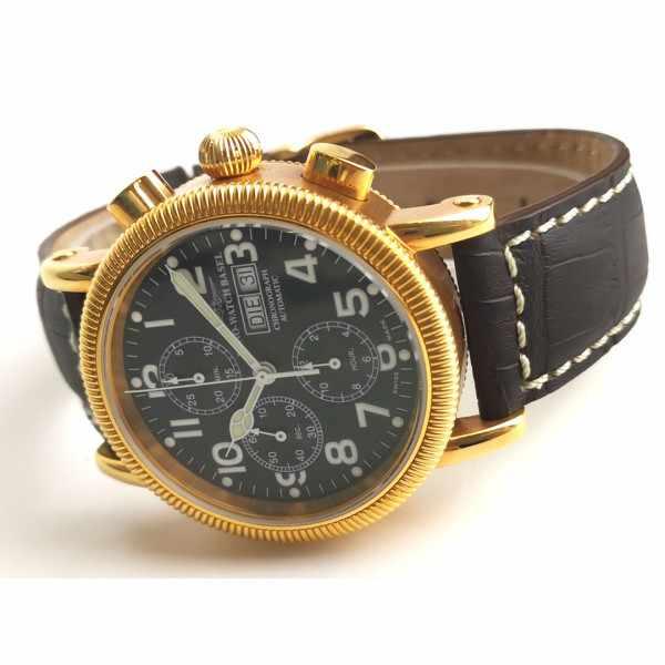 ZENO-WATCH BASEL, Nostalgia Chronograph, Tag und Datum vergoldet_22486
