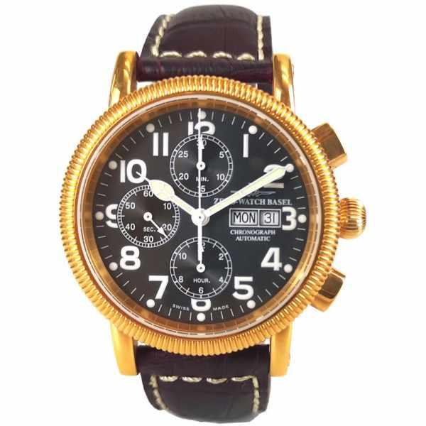 ZENO-WATCH BASEL, Nostalgia Chronograph, Tag und Datum vergoldet_22487