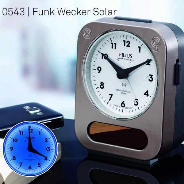 FILIUS Solar-Funkwecker Silent weiss/silber_22694