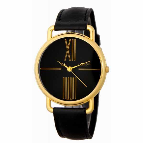 ZENO, Big Roma Design, grosse Quartz Damenuhr, vergoldet, schwarz_2363