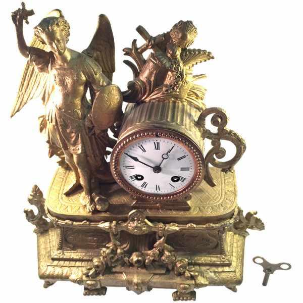 ANTIK, mechanische Empire Tischuhr mit Engel, ca. 1820_2403