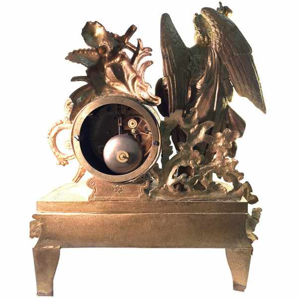 ANTIK, mechanische Empire Tischuhr mit Engel, ca. 1820_2404