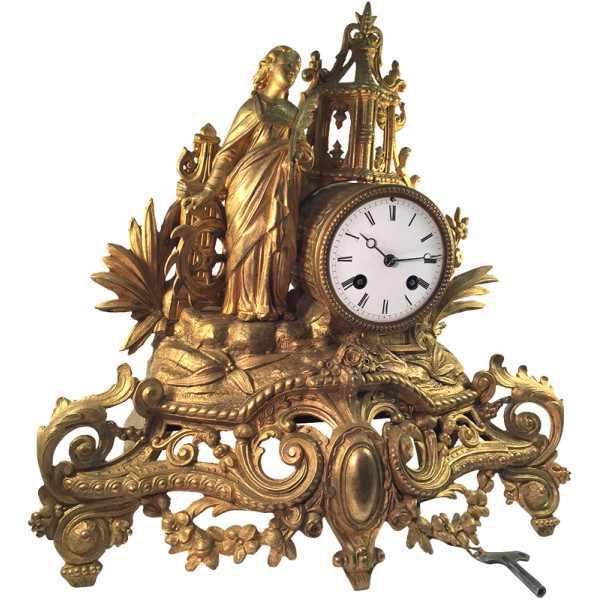 ANTIK mechanische Empire Tischuhr mit Frau und Mühlrad, ca. 1820_2405