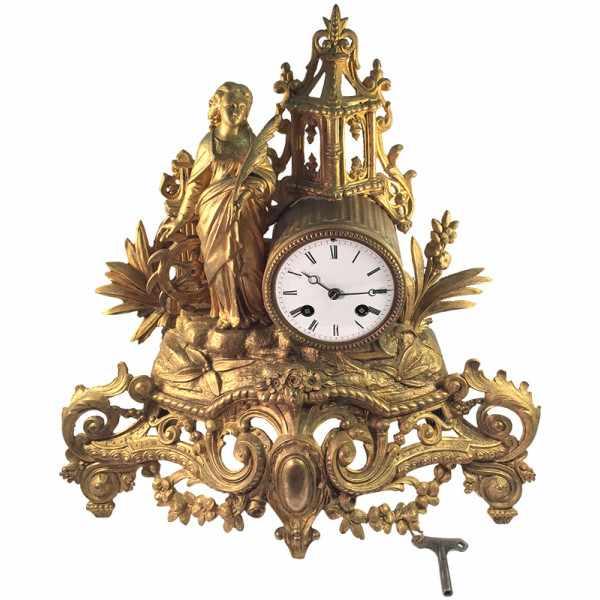 _ANTIK mechanische Empire Tischuhr mit Frau und Mühlrad, ca. 1820_2408