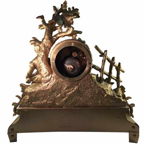 _ANTIK mechanische Empire Tischuhr mit Mädchen ca. 1830_2418