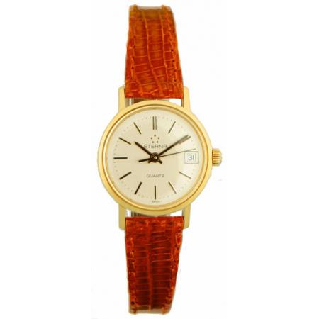 ETERNA Retro Golduhr Quartz, Lederband