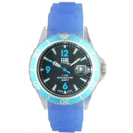 FHB, Opaque Fun Watch, Quartz Uhr mit Silikonband, blau