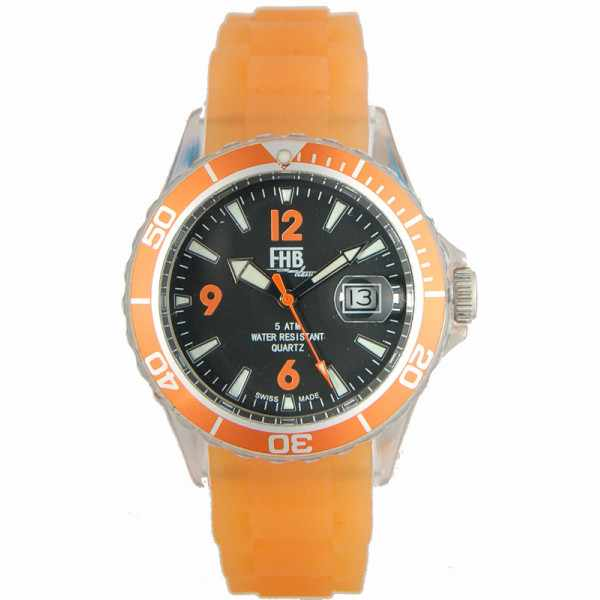 FHB, Opaque Fun Watch, Quartz Uhr mit Silikonband, orange_2675