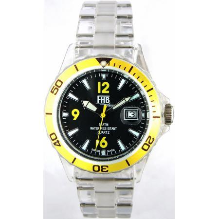 FHB, Opaque Fun Watch, Quartz Uhr mit Gliederarmband schwarz/gelb