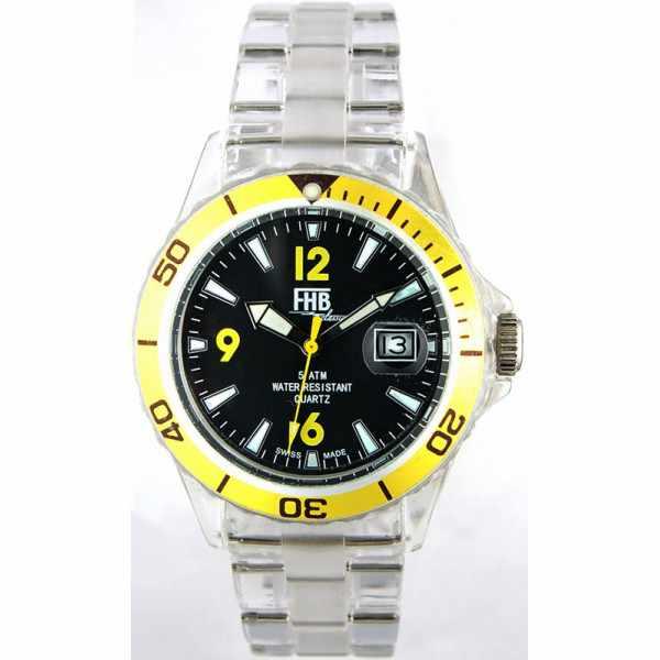 FHB Opaque Fun Watch, Quartz Uhr mit Gliederarmband schwarz/gelb_2676