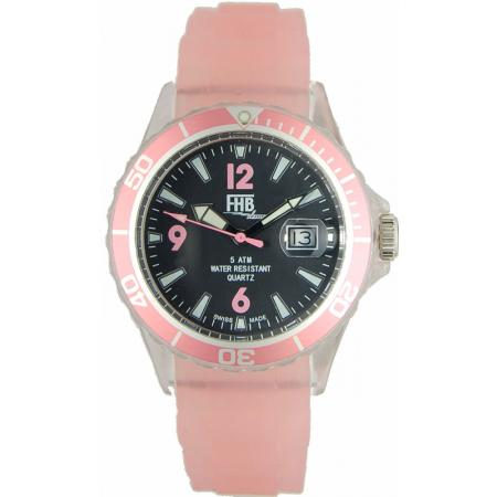 FHB Opaque Fun Watch, Quartz Uhr mit Silikonband, rosa